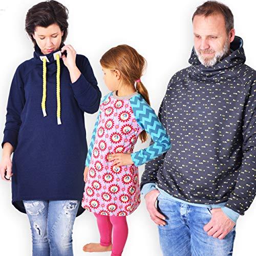 leni pepunkt Schnittmuster zum direkten Ausschneiden mit Nähanleitung - Pullover 3er Set für Damen Herren Kinder in Mehreren Größen zum Selbstnähen für Nähanfänger mit 5 Webetiketten - Jersey Girl Kinder Sweatshirt