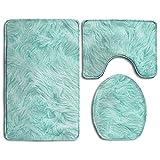 RedBeans Badteppich, 3-teiliges Badezimmer Teppich Set, Mint grün Rutschfeste WC-Sitz Set, große Contour Matte, Deckel Cover für Damen/Herren