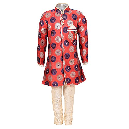 Ahhaaaa Kids Ethnic Indo-Western Cotton Silk Festive and Party Wear Sherwani and Breeches Set for Boys_MRN356-0