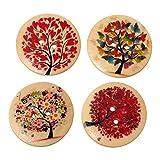 Mix Naturell Blumen Baum Holzknoepfe 2 Loecher Patchwork Motivknoepfe 3cm,20 stk