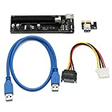 PCI-E 16x - 1x Powered VER 006C Riser Adapter Card with USB 3.0 Extension Cable + 4 Pin MOLEX to SATA Power Cable - 2 Pack