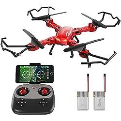 Drone con cámara, GoolRC T5W PRO 2.4G 4CH 720P HD Cámara Wifi FPV plegable RC Quadcopter Selfie Drone con dos baterías