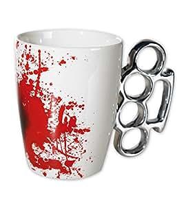 """Schlagring Tasse """"Bloody"""" Kaffeebecher mit Blutflecken aus Keramik"""