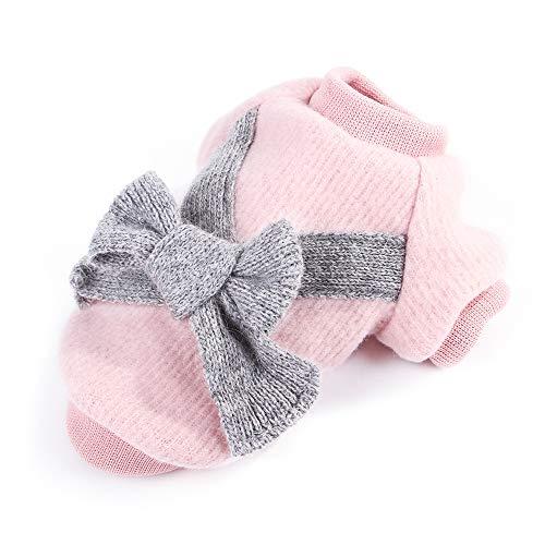 Haustier Kleidung, Welpen Mädchen Pudel Entzückende Bowknot Winter Pullover Winter Warm Kleiner Hund Mantel Weihnachten Bekleidung für Welpen Chihuahua Teddy Mops Weihnachtsfeier Dress up (Pink S)