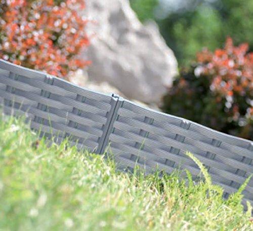 Rasenkanten vers. Farben 3,9m 5Stk Beetumrandung Beeteinfassung Holz-Optik
