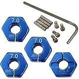 JBS basics Aluminium Radmitnehmer 12 mm HEX [ zum schrauben ] Sechskannt 4 Stück 1:10 1/10 Vorne Hinten [ mit Schlüssel ] Radaufnahme Felgenaufnahme Adapter (7 mm, Blau)