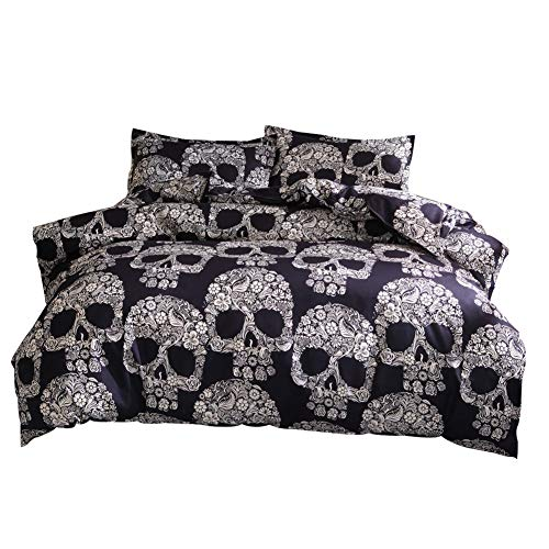 GODGETS Bettbezug Sets Bettwäsche-Set aus Bettbezug und Kissenbezügen, Gothic Skull,Gold Schwarz,[150 * 210] cm 2 Pics