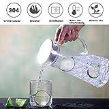 MUHOO Glas Krug 1,5L Glaskaraffe mit Deckel Glas Karaffe Wasserkrug aus Borosilikatglas Wasserkaraffe Wasserkrug Glaskaraffe Getränkekaraffe - 4