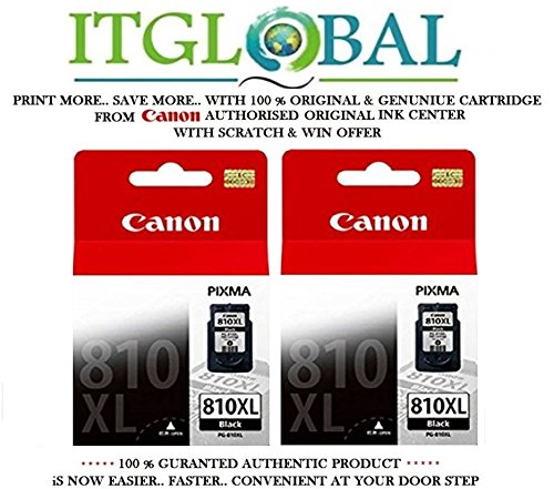 Canon Combo Ink Cartridge Black Twin ( PG 810 XL ) [Set of 2 Cartridge] -Special ITGLOBAL Combo With Scratch & Win Offer 810xl  available at amazon for Rs.3601