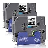 Labelwell 2 Rollen 12mm Kompatibel Brother Tze-335 Tze335 Tz-335 Weiß auf Schwarz Etikettenband, Schriftband für Brother P-Touch D400 H100LB E100 H105WB D400VP D200BW H105E100VP P750W P700 D600VP D450VP D210VPH101TB H101TB P-touch Cube D200 D210 E500VP E550WVP H110 E300VP H500LI H100R P900W 3600 D600VP D200BWVP 1080H101C P950NW Beschriftungsgerät (1/2