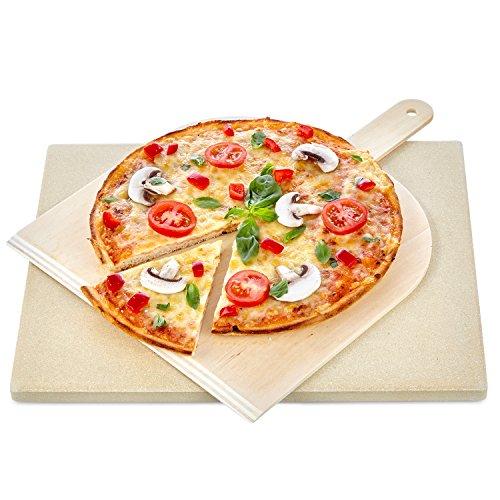 KLAGENA Pizza-Brotbackstein Set für Backofen und Grill, mit 2 Jahre Geld-zurück-Garantie – Pizzastein, Pizza-Brotbackstein-Set – für frischgebackene, köstliche Pizzen und Brote