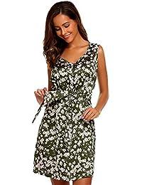 Vestito Sciolto Donna Abito Pulsante da bottino Senza Maniche Floreale in  Raso in Chiffon di Modo 03d45419242