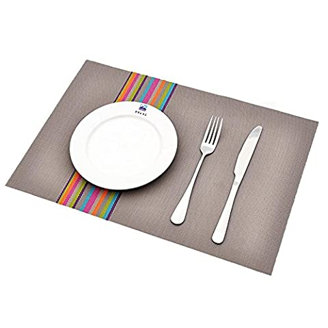 DIANZHUO Placemat 4Pcs European Style Pvc Plastic Table Mats Dining Table Anti-Hot Pad Tableware Insulation Placemat Western Food Plate Mat Kitchen Supplies , Rainbow Grey