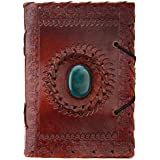 Indiary Luxusnotizbuch aus Büffelleder und handgeschöpftem Papier - 15,5 x 11,5cm - Green Stone