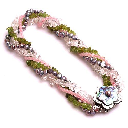 Halskette Quarz Klar Kristall (Weiß Bergkristall klar Kristall, Pearl, Peridot Kristall, Rose Quarz Halskette Schmuck (Mehrfarbig))