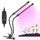 BAFULAN - Lámpara de crecimiento para plantas de interior (20 W, temporizador de 3/9/12H, 40 LED, 9 niveles regulables, luz de cultivo para plantas con espectro rojo/azul, cuello de cisne ajustable, 3 modos de interruptor)