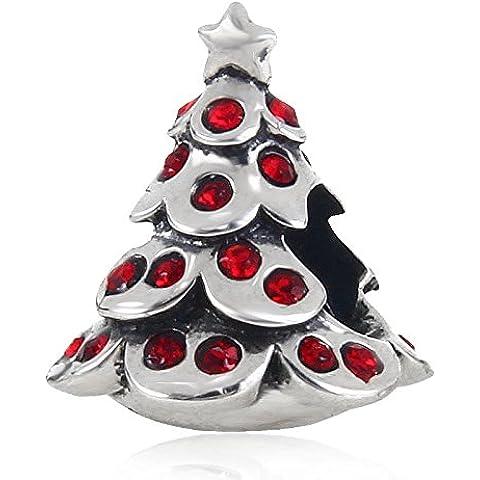 Argento 925 albero di Natale con Crystal Red stile europeo