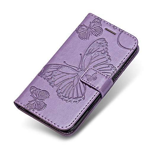 Huawei P8 Lite 2017 Hülle, The Grafu® PU Leder Handyhülle mit Stoßfest TPU, Schmetterling Muster [Standfunktion] [Kartenfach] Schutzhülle für Huawei P8 Lite 2017, Violett