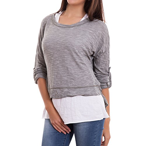 Maglia donna doppia canotta due pezzi casual maniche 3/4 maglietta nuova AS-8133 [Taglia unica,nero] Grigio