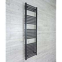 500mm ancho x 1600mm alto Calefactado Toallero Recto Plana Negra Baño Calentador Radiador Estantería Calefacción Central