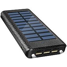 Solar Ladegerät Powerbank 24000 mAh Externe Akku Handy Power bank mit Highspeed-Eingang, 2 LED-Lampen und 3 Highspeed-Ladeanschlüsse für IOS-, Android- und andere Geräte mit microUSB-Port-Schwarz