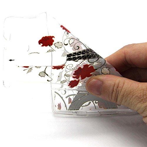 Coque pour Sony Xperia Z3 Compact, Etui pour Sony Xperia Z3 Compact, ISAKEN Transparente Ultra Mince Souple TPU Silicone Etui Housse de Protection Coque Étui Case Cover pour Sony Xperia Z3 Compact (To Tour Fleur