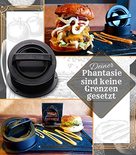 51jF7FPVJPL - Le Flair XXL Burgerpresse-Set 4 in 1 -NEUES Modell 2019- mit E-Book | Burger Pattie Presse für Hamburger ideales Grillzubehör BBQ mit Backpapier Patty Maker Burger zum Grillen | Deutsche Marke