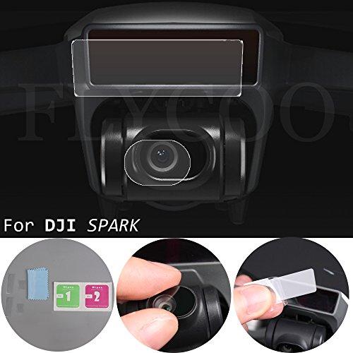 Flycoo 4pcs Gehärtetes Glas für DJI Spark : 2er Kamera Objektiv Glas Film + 2pcs Drone Body Screen Pet Film Schutz für DJI Spark