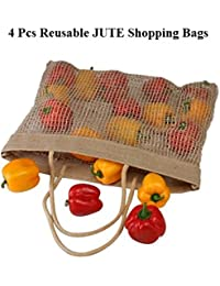 "Dote Twine Jute Reusable Multipurpose Grocery Shopping Bag (4 Pcs) 11"" X 7"" H X W"