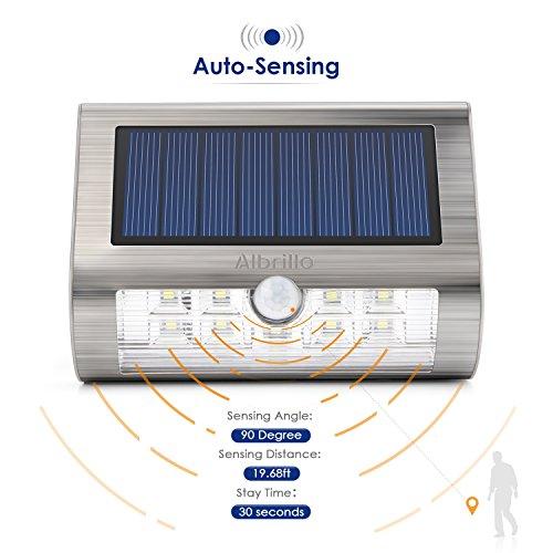 Albrillo Solarleuchten mit Bewegungsmelder, 2er-Pack, 18 LEDs in Kaltweiß - 7
