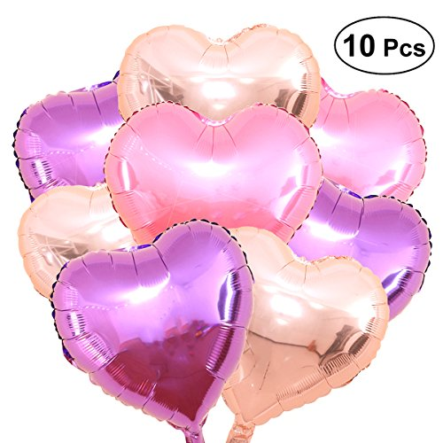 TOYMYTOY 10pcs Herz Folienballon Mylar Ballon Hochzeit Jahrestag Herzform Ballon Party Dekoration