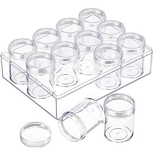 Klar Perle Organizer Perle Lagerung Behälter Set mit 12 Boxen (1,9 x 1,5 Zoll)