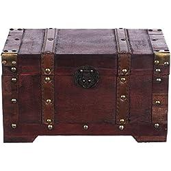 Harvest HS 130524 - Baúl de madera tipo cofre del tesoro (mueble pequeño, con hebillas de metal, diseño antiguo, diferentes tamaños, para decoración de estilo marítimo o colonial, alta calidad, con adornos, 28 x 17 x 16 cm)