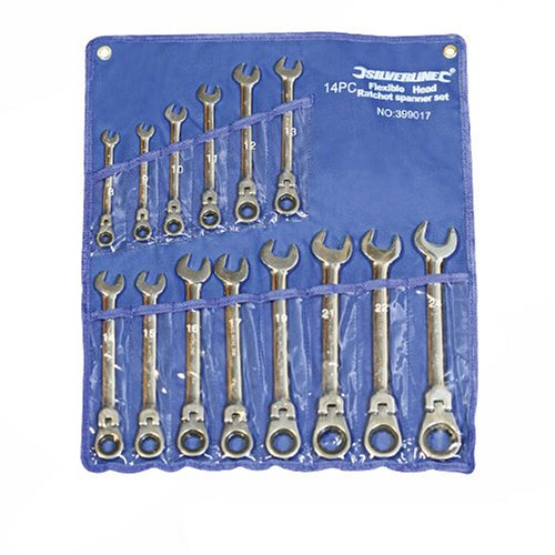 Silverline 399017 - Llaves combinadas con carraca articulada, 14 pzas