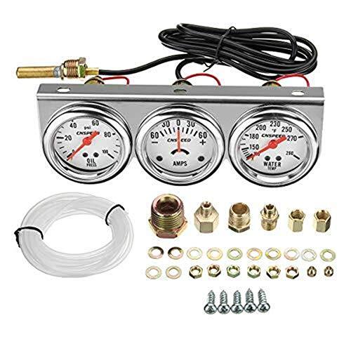 Voltage Meter Gauge 2 Zoll 52mm Öldruck Wassertemperatur Amp Meter Triple Gauge 3 in 1 Set Chrome Panel zum Auto Automobil Kraftfahrzeug