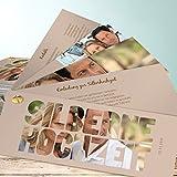 Einladungskarten Silberne Hochzeit, Liebe durch und durch 200 Karten, Kartenfächer 210x80 inkl. weißer Umschläge, Braun