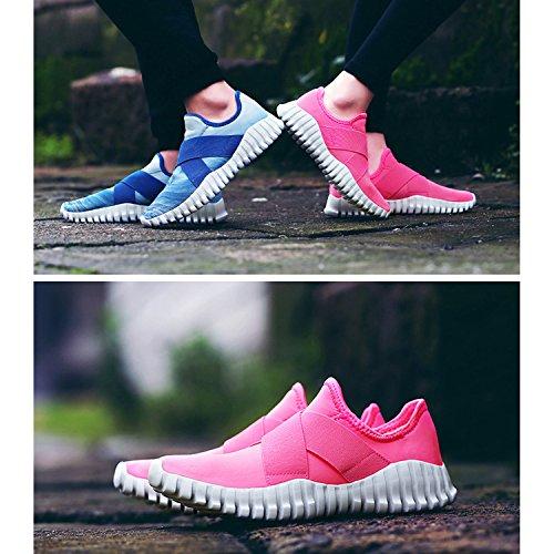 Oriskey Mixte Adulte Homme Femme Chaussures de Multisport Outdoor de Course de Running Baskets Gym Fitness Sport Sneaker rose rouge