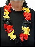 Blumenkette / Hawaiikette / Halskette - schwarz-rot-gelb/gold (Deutschland, Belgien) - Umfang zirka 100cm (1m)