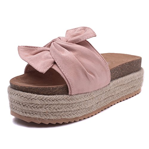 Mforshop scarpe donna ciabatte sandali scamosciato fiocco zeppa corda flatform moda hf838 - rosa, 39