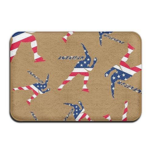 American Flag Short Track Speed Skating 3D Printing Non-Slip Indoor Carpets Door Mats 23.6