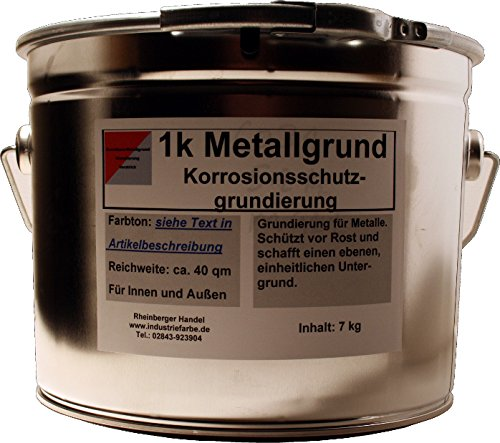Kunstharz Metallgrund Rostschutz mit Zinkphosphat, Korrosionsschutz, 7 kg Eimer, grau