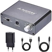 Avantree Convertidor Digital a Analógico, DAC Audio Óptico Conversor, Entrada Audio Óptico / Coaxial, Salida Auricular / Altavoz, Control Volumen, Cable Óptico incluido, 192 KHz [Garantía 2 años] - DAC01