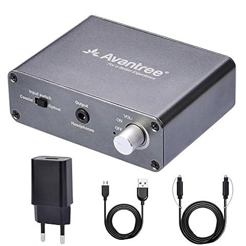 Avantree Audio Konverter Da Wandler DAC Digital zu Analog, Optisch / Koaxial Input, Kopfhörer / Lautsprecher Output, Volume Control, Optisches Kabelenthalten, 192 KHz [2 Jahre