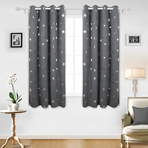 Deconovo Super Soft Stars Foil Printed Thermal Insulated Ready Made Curtains Eyelet Blackout Curtains for Bedroom with Two Matching Tie Backs 46 x 54 Inch Grey One Pair