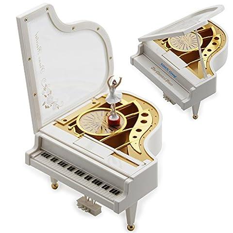Sidiou Group Cadeau Créatif Saint-Valentin Laputa Piano Danseuses Filles Boîte à Musique Tournante Vintage Mécanique (Ragazze Music Box)