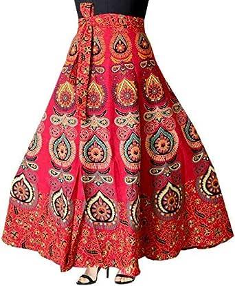 Modern Kart Women's Cotton Jaipuri Print Wrap-Around Skirt (INDI_04, Multicolour, Free Size)