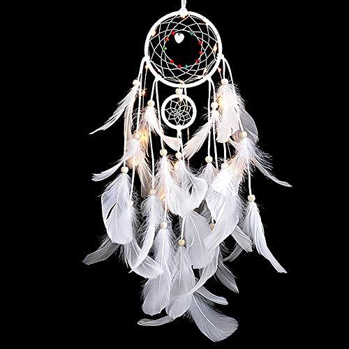 r Traumnetz Böhmischer Traumfänger Nachtlicht-traumfänger Für Die Halloween-Party Mobile Led Wandbehang Patio Romantischer Weihnachtsbaum White ()