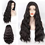 ZeroBlizzard Hair Long Body Wave #4 Synthetic Wig Middle Part Glueless Synthetic Lace Front Wigs for Black Women Heat Resistant Fiber Hair Half Hand Tied Long Wigs for Women(24