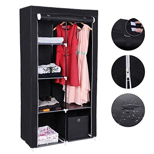 songmics xl stoffschrank faltschrank 7 montagearten kleiderschrank mit 2 kleiderstange 88 x 45 x. Black Bedroom Furniture Sets. Home Design Ideas