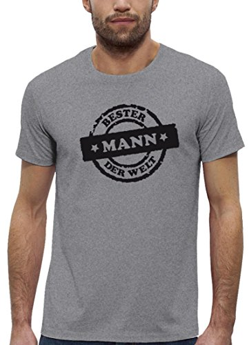 Geschenkidee Premium Herren T-Shirt aus Bio Baumwolle Bester Mann der Welt Stempel Stanley Stella Heather Grey